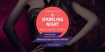 Night Party Invitation with Woman in Glamorous Outfit
