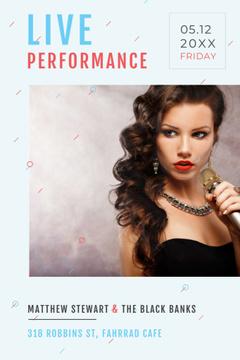 Live Performance Announcement Gorgeous Female Singer