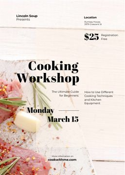 Cooking Workshop ad with raw meat