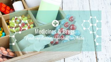 Medicine information with Pills in box