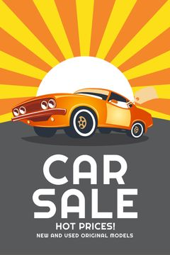Car Sale Advertisement Muscle Car in Orange