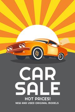 Car Sale Advertisement with Muscle Car in Orange