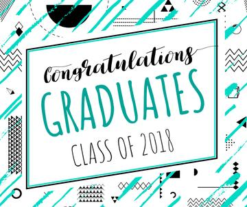 Graduates congratulation on geometric pattern