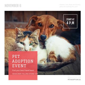 Pet Adoption Event Dog and Cat Hugging