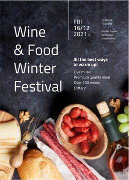 Food Festival invitation Wine and Snacks