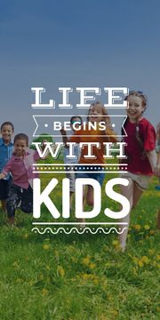 Motivational poster with kids on green meadow