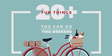 20 fun things you can do this weekend poster with bicycle and picnic basket