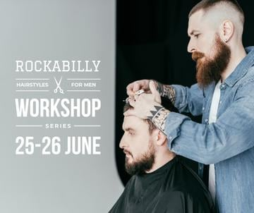 Hairstyles workshop ad with client at Barbershop