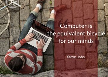 Motivational Quote with Young Man using laptop