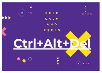 keep calm and press Ctrl+Alt+Delete purple poster