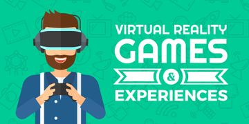 Virtual Reality Games Ad with Man in VR Glasses