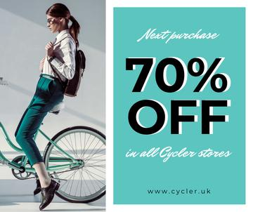 Bicycles sale with Girl on bike