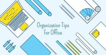 Organization tips for office with Stationery on Workplace