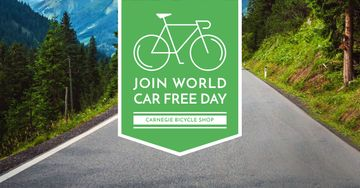 Car free day Announcement with Bicycle