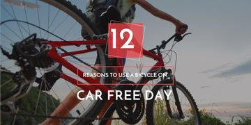 car free day poster with bicycle