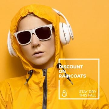 Raincoat Store Ad with Woman in headphones