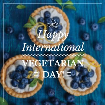 Vegetarian day greeting Cupcakes with Blueberries