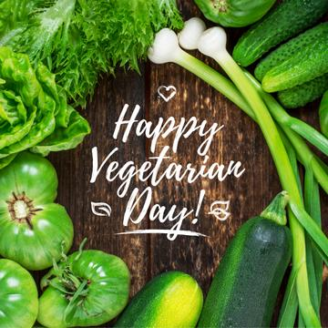 Vegetarian day greeting with Raw Vegetables