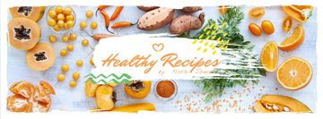 Healthy recipes with organic products on table