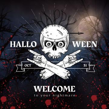 Halloween holiday Invitation with Creepy Skull