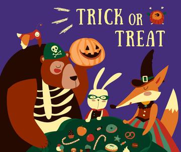 Halloween holiday invitation with funny Animals