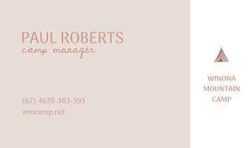 Camp manager business card