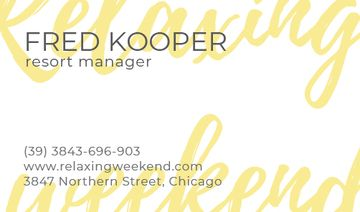 resort manager business card