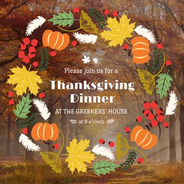 Thanksgiving Dinner invitation Pumpkins and Berries