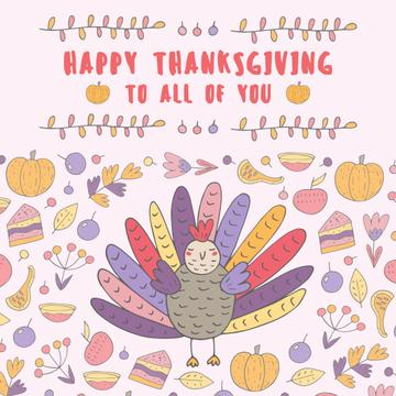 Thanksgiving day greeting with Colourful turkey