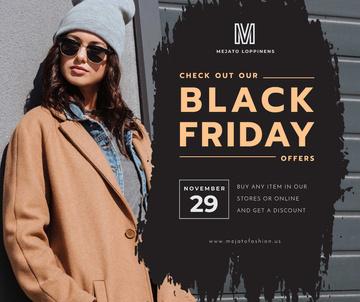 Black Friday sale Stylish girl in Sunglasses