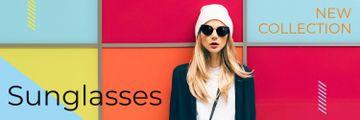 Sunglasses Ad Beautiful Girl on Bright Wall