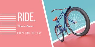 happy car free day poster with bicycle