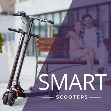 Couple sitting on the bench with scooters