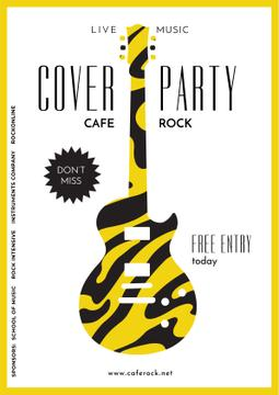 Advertisement for party with Guitar silhouette