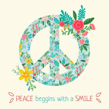Bright peace sign with phrase