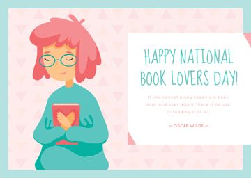National book lovers day greeting card