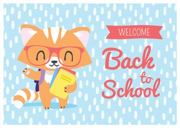 Welcome Back to School with Cute Fox in Eyeglasses
