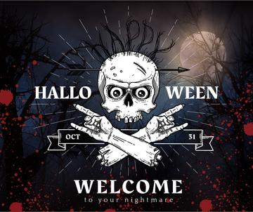 Halloween party invitation with scary Skeleton