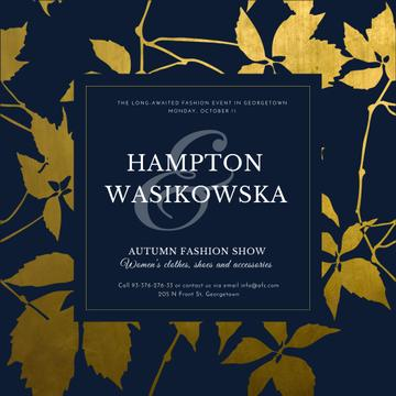 Autumn Fashion show announcement on golden leaves
