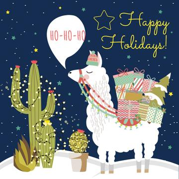 Happy Holidays Greeting with Lama holding Gifts