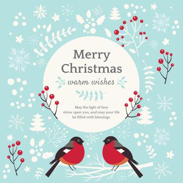 Christmas Greeting with bullfinch birds