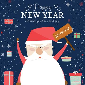 Happy New Year Greeting with Santa and Gifts