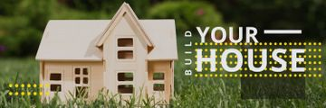 Build your house poster with small wooden house model