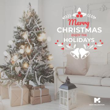Merry Christmas tree and gifts at home