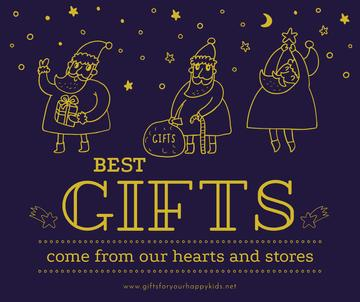 Christmas Holiday greeting Santa with Gifts