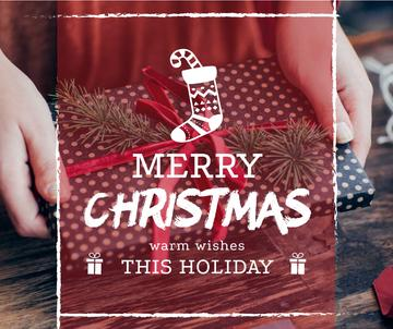 Merry Christmas greeting Woman wrapping Gift