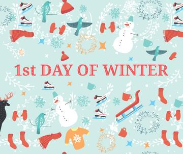 First Day of Winter Greeting with seasonal attributes