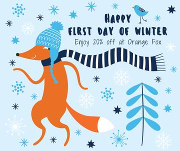 First Day of Winter Greeting with cute Fox