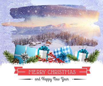 Merry Christmas greeting with gifts and winter forest