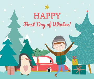 First day of Winter greeting with penguin and boy